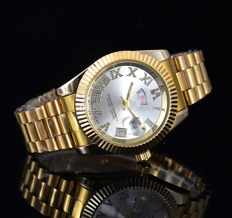 relogio Gold Luxury Men Automatic 2019 Out Watch Mens Watch Rome President Wristwatch Red Business Reloj Big Diamond Watches Men watch