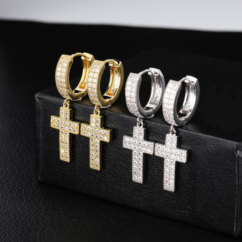 Baumeln Leuchter Schmuck Luxus Männer Frauen Bling-Tropfen-Ohrringe Art und Weise vorzügliches Gold 18K Platied Kupfer Kreis Kreuz Hip Hop-Ohrring