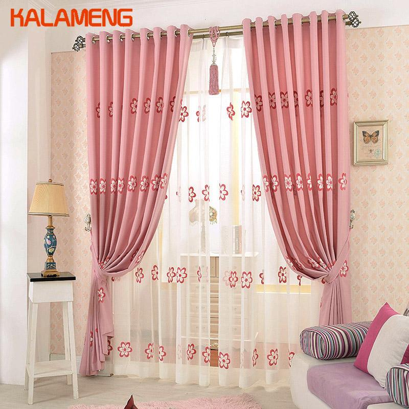 2019 Pink Bedroom Curtains Flower Blackout Bed Girls Window Drapes Grommet  Window Curtain Fabric Simple Romantic Curtain AXY8166 From Hymen, $53.25 |  ...