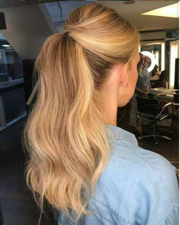 Gewelltes gelocktes blondes menschliches Haar wickeln Tunnelzug Pferdeschwanz Haarteil Clip in Honig blonde afrikanische lockigen Haarverlängerungen 14inch geben Schiff frei