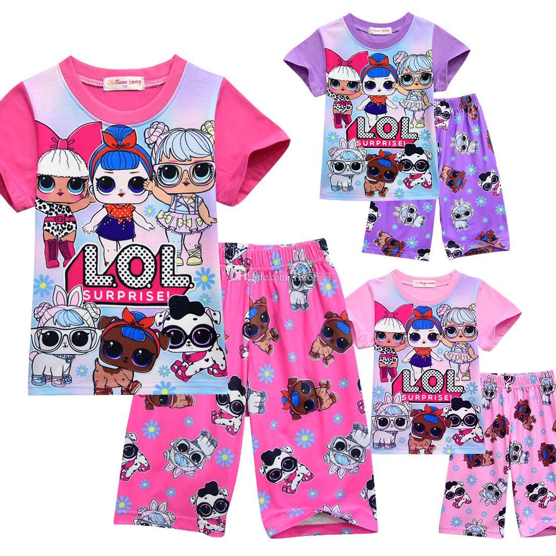 T-Shirt Pyjama Set 3D Farbdruck Neue Cartoon Mädchen Kurzarm T-Shirt Shorts Anzug Sommer Kinderbekleidung Kinder Mädchen Outwear Kleidung