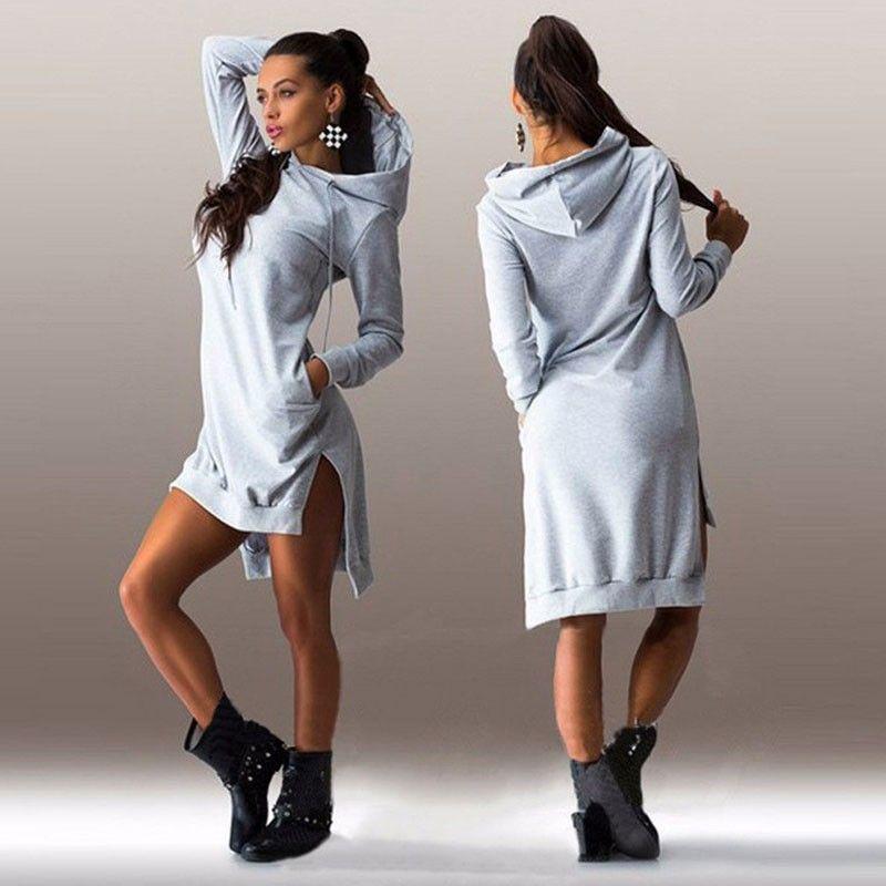 Women Pockets Pullover Svitshot Autumn Casual Hoodies Women Tracksuit Hoodies Sweatshirt Female Slim Hoody Dresses for Ladies