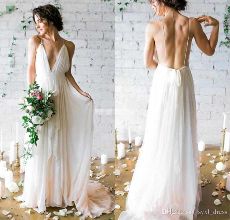Abiti da sposa spiaggia Boho lungo 2019 senza spalline profondo scollo a V una linea chiffon abiti da sposa economici plus size abito robe de mariée