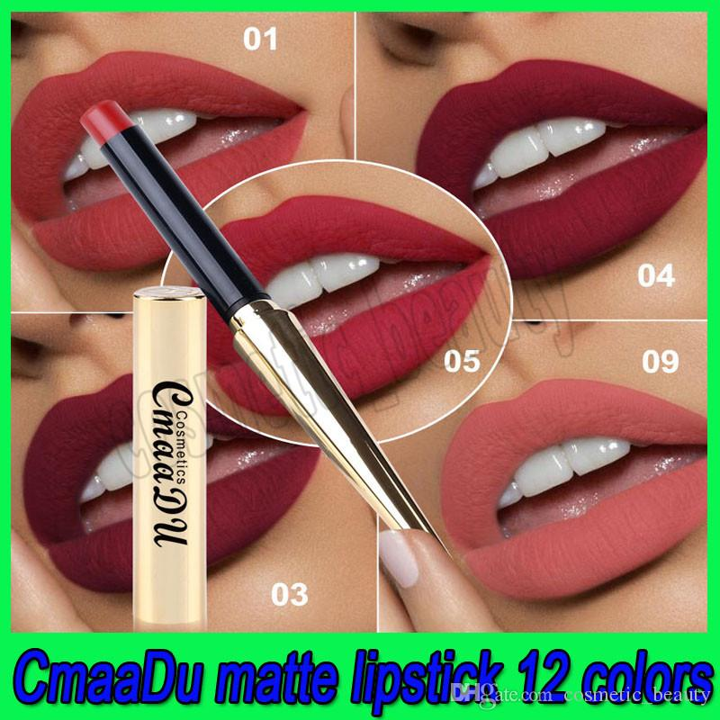 CmaaDu 12 colores Lápiz labial mate Labio impermeable Maquillaje duradero Maquiagem con tubo de forma de bala dorada