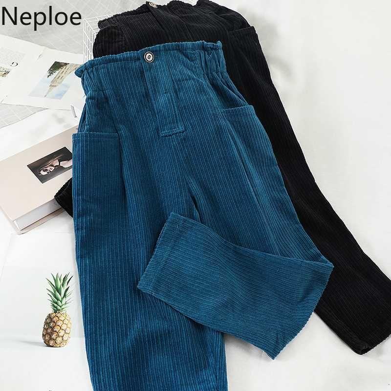 Neploe Ins cintura alta Hip Design Botão calças de veludo Casual solta bolso Sweatpants Outono Primavera Outwear Calças 48500