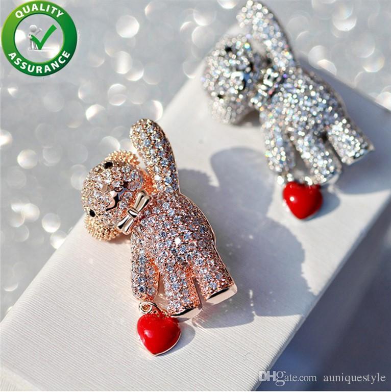Spille di design Accessori di lusso per donna Perni di smalto di moda Charms stile Pandora Diamante Bling Shiny ghiacciato Micro pavé CZ Girls Lady