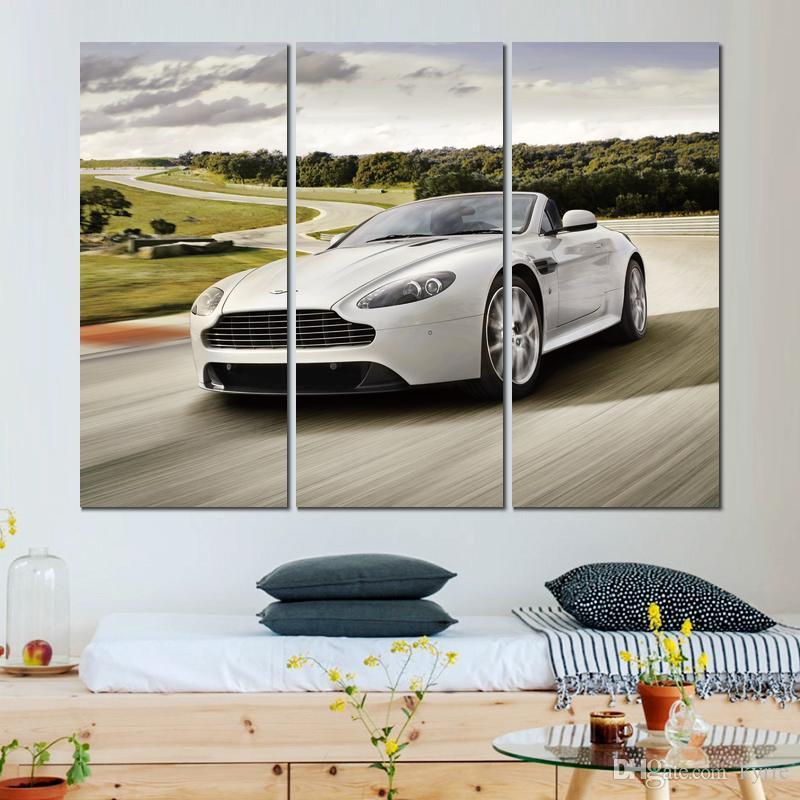 3 sätze blume kunst bilder malerei aston martin vantage weißes auto moderne leinwand bild home wanddekor