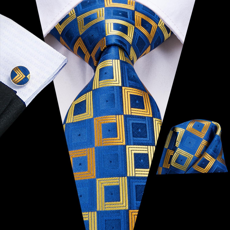 Mode Blue Gold Vérifiez Silk Tie Set gros classique jacquard tissé cravate de poche carrée Hommes Boutons de manchette de mariage d'affaires N-3183