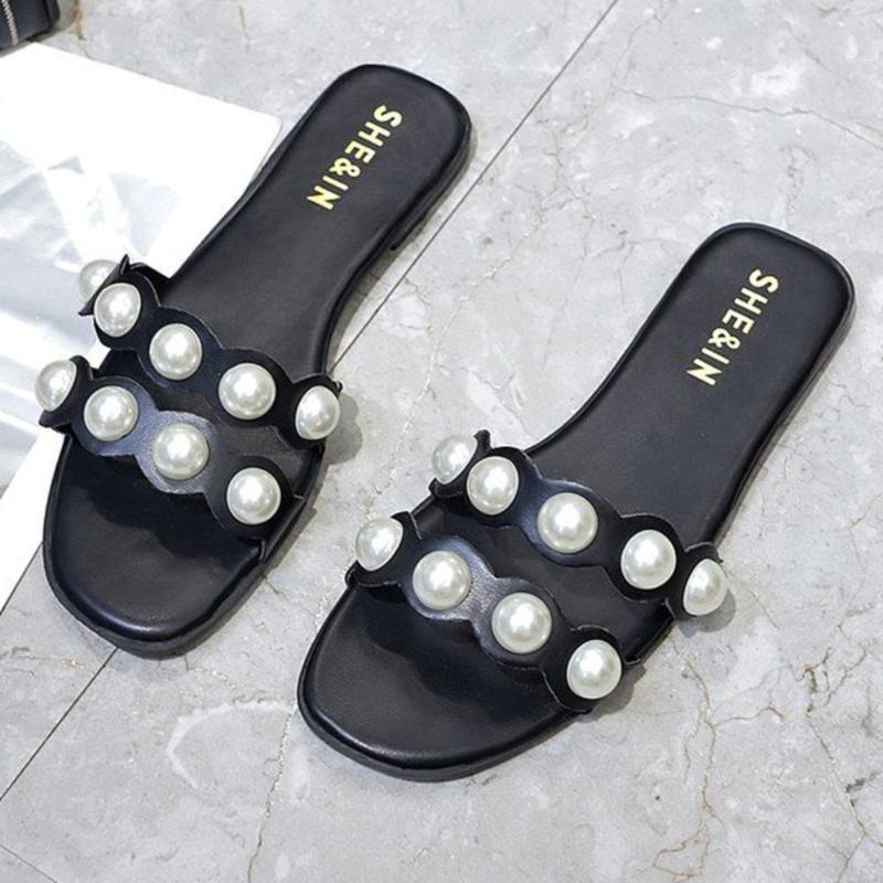 Abrir Pérola Chinelos Mulheres Toe Mules Sapatos Mulher Slides verão Flip Flops