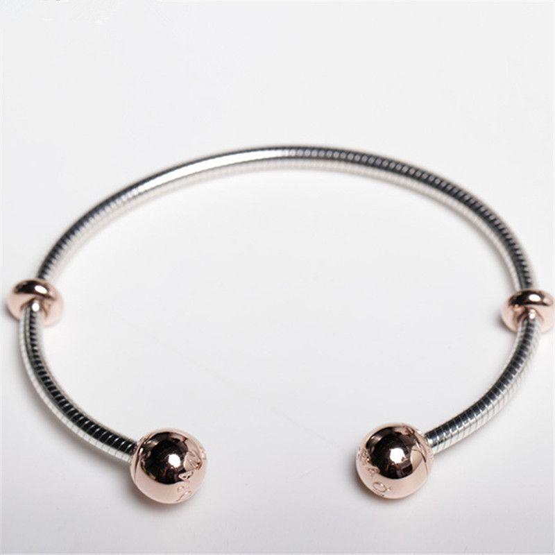 NEW Высокое качество 100% стерлингового серебра 925 Моменты Snake Chain Стиль Открытый браслет Подходит Европейский Pandora ювелирных изделий типа Подвески и бисер