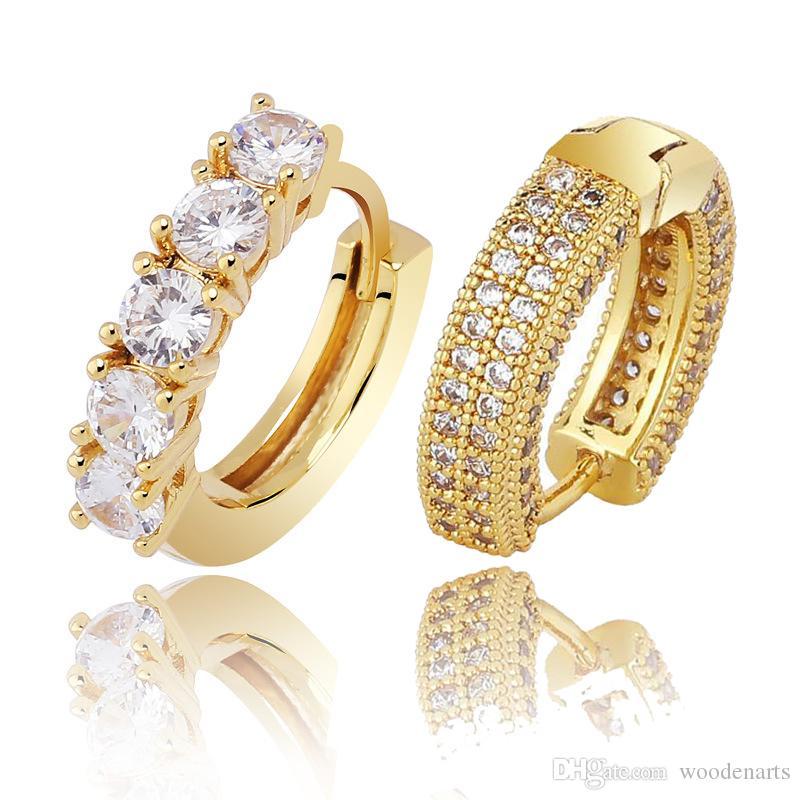 L'oro reale 18K White Gold completa zirconi fuori ghiacciato diamante unisex Orecchino ad anello di modo di marca Rapper gioielli regali di compleanno per gli uomini donne