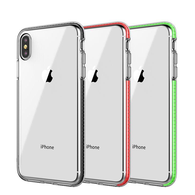 Двухцветный прозрачный ТПУ чехол для мобильного телефона двухцветный гибридный броня ударопрочный чехол мягкий чехол для iPhone Xs Max 8 Plus Samsung S10 Plus