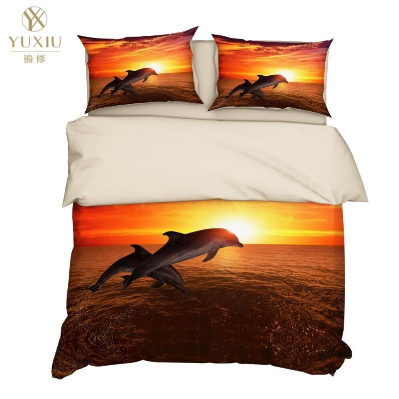 Yuxiu 3D-Bettwäsche-Set Sea Dolphin Bettbezüge 3Pcs Sets Bettwäsche Bettbezug König Königin Voll Twin Double Size