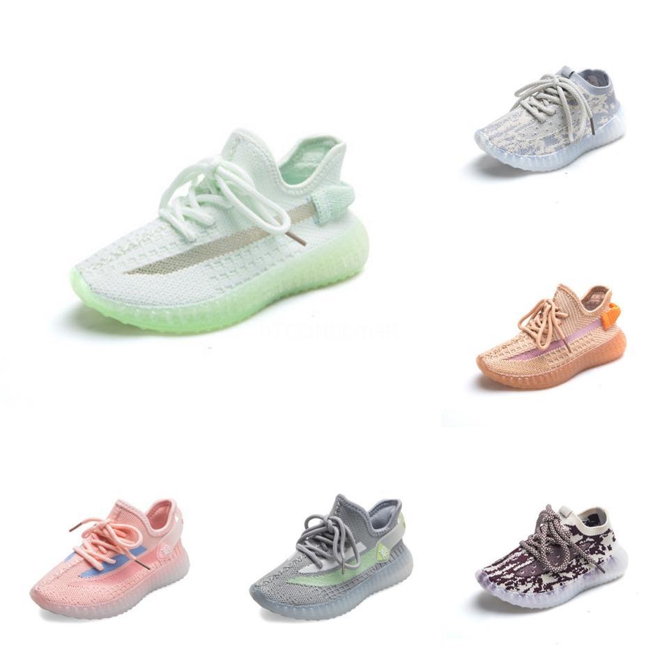 2020 Çocuk Bebek Çocuk Kil V2 Ayakkabı Kanye West Blakc Statik 3M Yansıtıcı Zebra Beluga 2,0 Boy Kız Sport Sneakers Tim Eğitmenler 28F6 # 90 Running