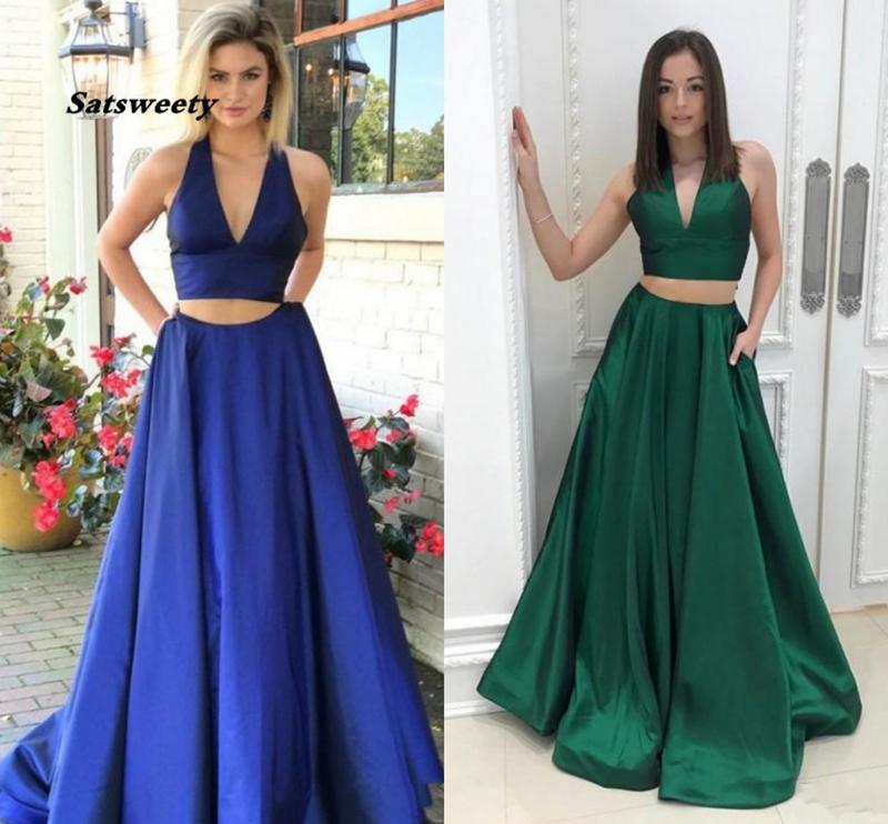 Newest Two Pieces Prom Dress Sexy Deep V Neck Special Occasion Dresses Evening Party Gowns Vestido de Festa