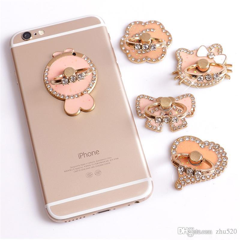 Universal 360 Degree Sugar coating Ring Phone Stand Holder Pink Flower Bowknot Cat Fish Heart Crystal Finger Ring Holder For Samsung HTC
