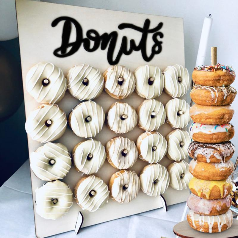 Donuts Stand Donut Wall Display Holder Wedding Decoration Birthday Party Supplies Baby Shower Wood Donut Holder Party Decoration