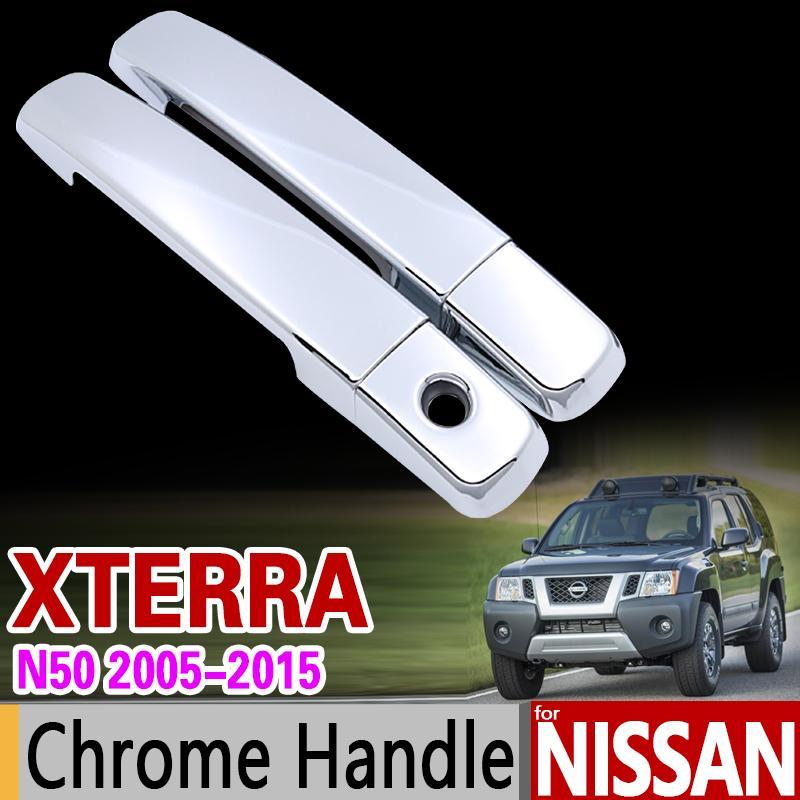 غطاء غطاء مقبض الباب كروم السيارة لنيسان إكستيرا N50 X تيرا 2005 2006 2007 2008 2009 2010 2011 2012 2014 Accessories