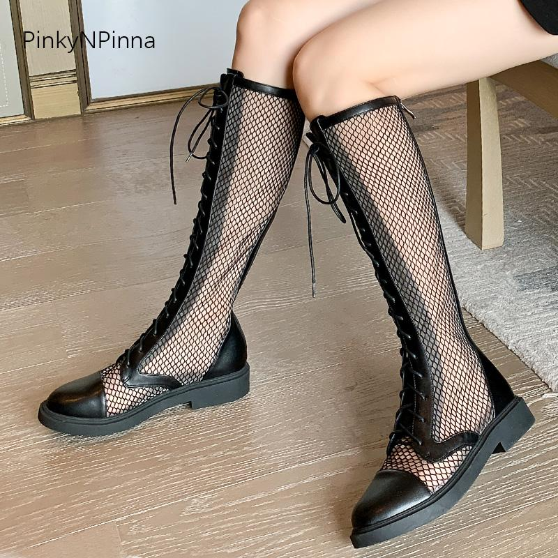 super sexy women summer mesh long boots knee high transparent back zip laced up breathable young street punk plus size shoes