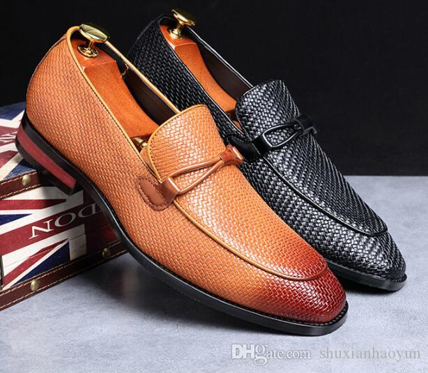 dos homens vestido de festa BrandFashion sapatos de luxo Designer Loafers respirável Flats homens Banquetes sapatos confortáveis Plus Size 37-48