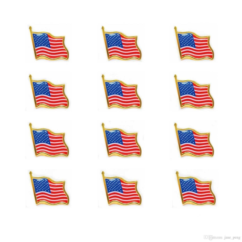 2019 년 뜨거운 판매 미국기 옷 깃 핀 작은 에나멜 미국 미국인 깃발을 흔들며 배지를 위해 넥타이자 배낭 핀 재킷