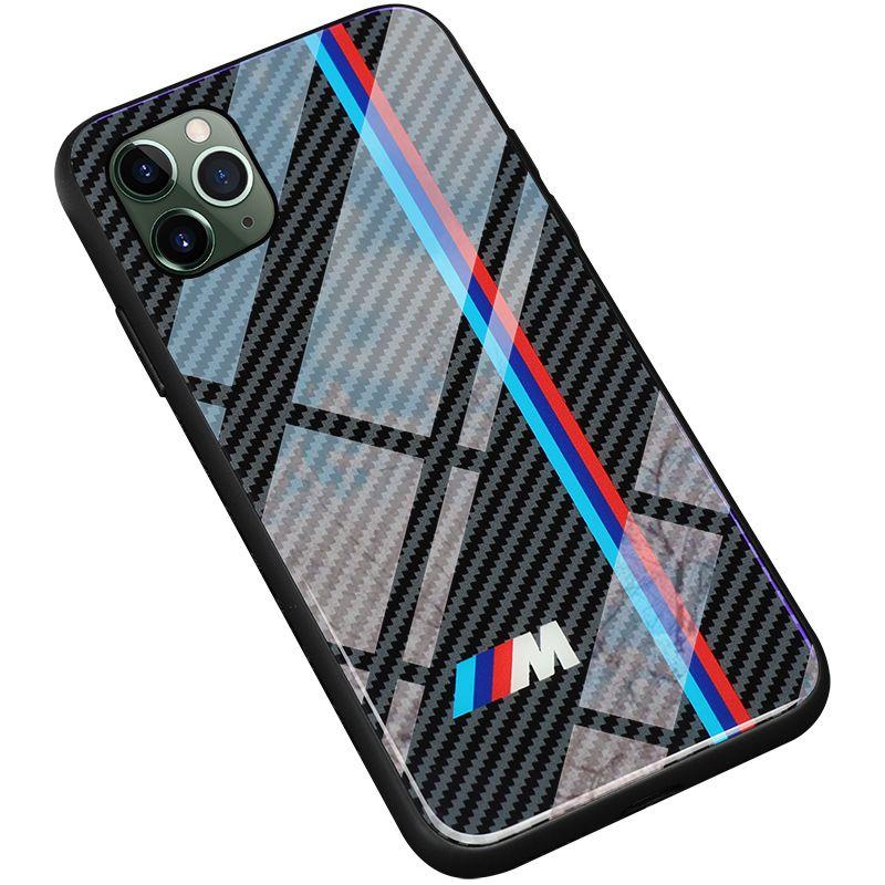 TPU + Verre trempé Voiture de course BMW M Cas de téléphone pour Apple iPhone 12 Mini 11 Pro Max 6 6S 7 8 Plus x XR XSmax SE2 Samsung S8 S9 S10 E S20 S21 ULTRA NOTE 9 10 COVILLE