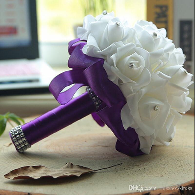 Espuma Barato Subiu Casamento Nupcial Buquê De Casamento Decoração Cristais Flor Artificial Da Dama De Honra Mão De Nata Segurando Broche Flores CPA1580