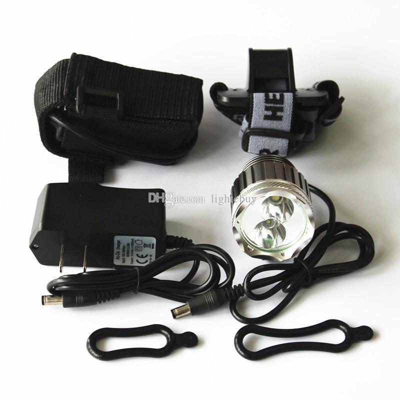 bici bicicleta Luz XML XML T6 + R5 LED 2800LM cabeza de la bicicleta luz de la lámpara de ciclo impermeable del faro con 8.4V 6400mAh cargador de batería conjuntos