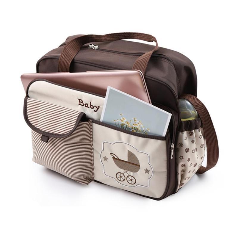 للماء في الهواء الطلق الأم الحفاض الكتف حقيبة العربة نمط متعدد الوظائف سعة كبيرة الكرتون التطريز CROSSBODY حقيبة