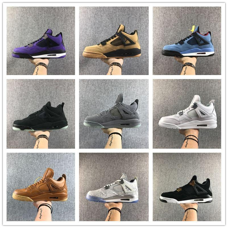 2020 أفضل الجديدة (4) ولدت أحذية IV OG أسود أحمر منخفضة كرة السلة للرجال الرياضة احذية ذكر 4S المدربين في الهواء الطلق أعلى جودة الحجم 7-13