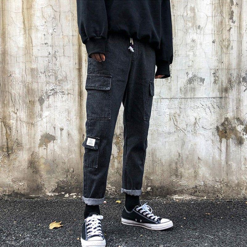 All'ingrosso 2020 Fashion Casual hip hop elastico in vita coreano moda uomini diritti dei jeans pantaloni di marca uomini della pantaloni corti