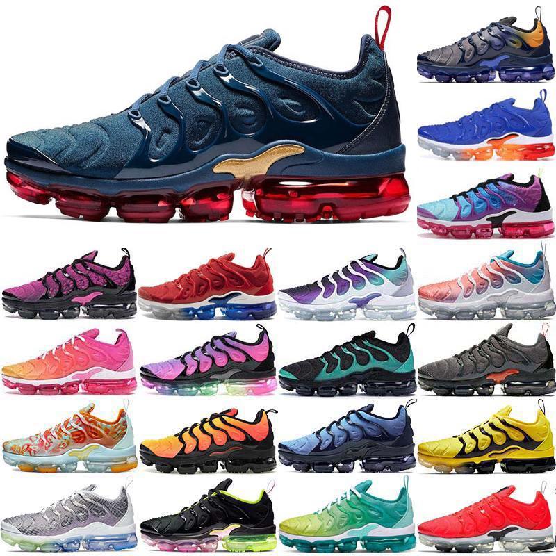 2020 Stok X Buharı TN Artı Midnight Navy Siyah Volt Erkek Koşu Ayakkabı Air Yastık Tasarımcı Spor Spor ayakkabılar Erkek Eğitmenler maxes Boyutu 36-46