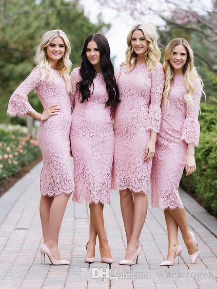 Barato Rosa Damas de Honra Vestidos de Casamento Bateau Pescoço Com Mangas Compridas Convidado Do Casamento Vestido Chá Comprimento Bainha Empregada De Honra Vestidos