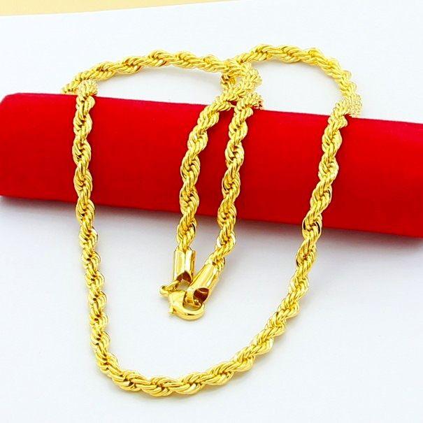 18k real banhado a ouro de aço inoxidável corda cadeia colar 4mm para homens correntes de ouro moda jóias presente hj259