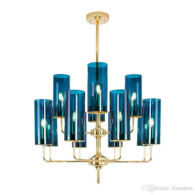 Verre moderne bleu / ambre Abat Lustre Lustre Led E14 Plaque Or Brillant Lustre pour Salon lampes Salle à manger