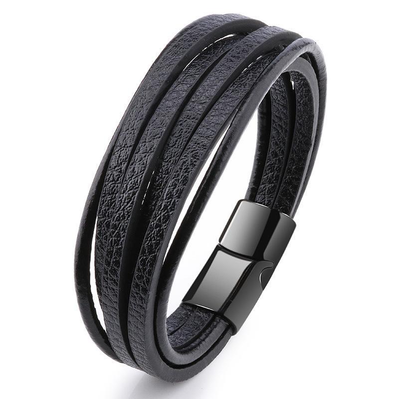 2019 grosso dos homens de couro trançado Pulseiras Armband Heren em preto e Brown cor com Magnetic Elegent Pulseira para Homem