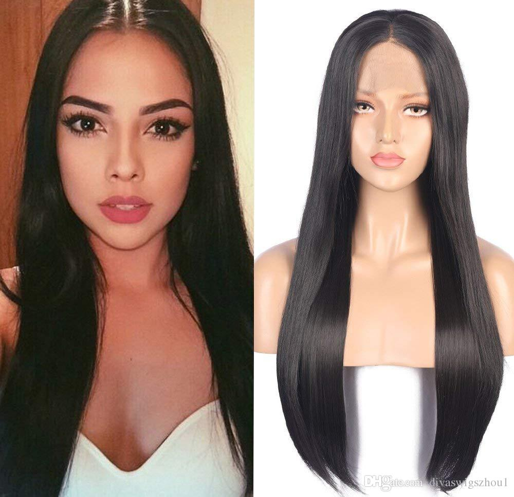 Human Hair Straight 360 lace wig 100% Real Brazilian Hair Black Roots 1B Color 130% Density Lace Wig For Black Women