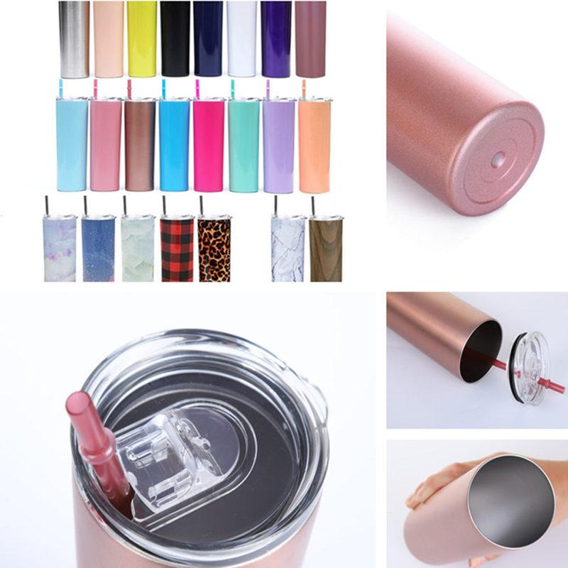 20oz Skinny Tumbler Stainless Steel Vacuum Insulated Straight Cup Coffee Mug Glasses with Lids and Straw Beer Mugs 25pcs T1I2030-2