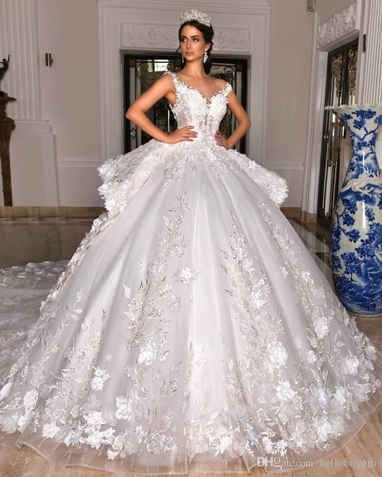 White Lace Ball Gown Princess Vintage Reception Wedding Dress Cheap Bling Long Trian Bridal Gowns Plus Size Fat 2019