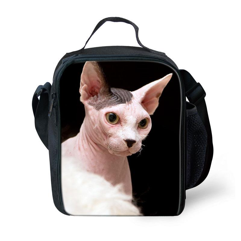Customized Canadian Hairless Sphinx cat Print Lunch Bag Thermal box Kids Boys Picnic Bags Totebag Cooler Keep Fresh Storage