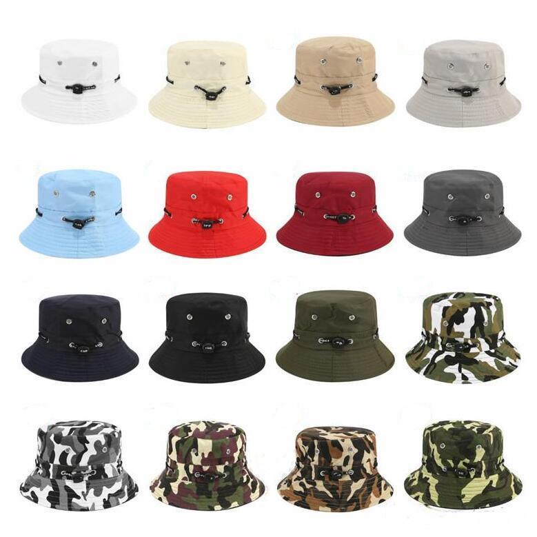 حوض قبعة كاب الصياد السفر مظلة قبعات تظليل الشاي اختيار مطوية القبعات مكافحة حروق الشمس في الهواء الطلق قماش التمويه أغطية للرأس الحزب DHC387
