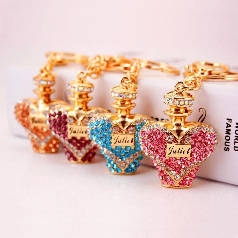 Creative cristal de diamant bouteille de parfum pendentif accessoires voiture sac clé femmes chaîne en métal petit cadeau cadeau