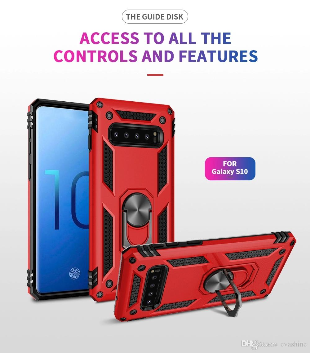 Mobile Metal Holder Shockproof Car Magnetic Phone Cases For Samsung Galaxy S10 Lite ,TPU+PC 2 In 1 Cell Phone Case