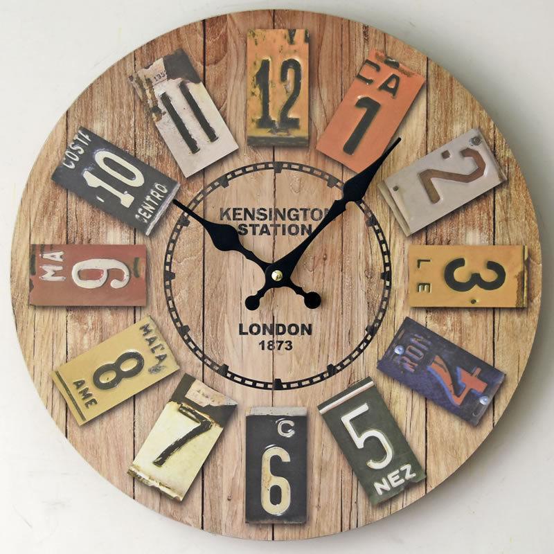 LONDRES 1873 Circular Digital reloj de pared de Woody Habitación Sala Decorar La restauración de las maneras antiguas de colores relojes de pared 20wqD1