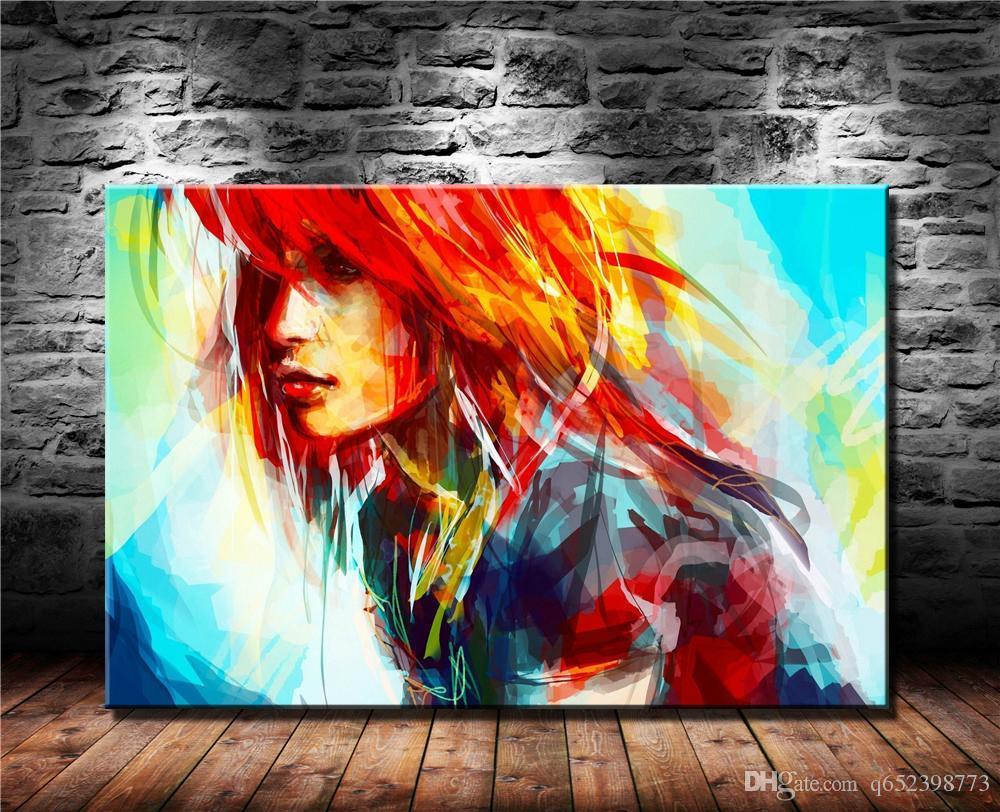 Pinturas de arte moderno de mujeres, impresión en lienzo HD Nueva decoración del hogar Pintura del arte / (sin marco / enmarcada)