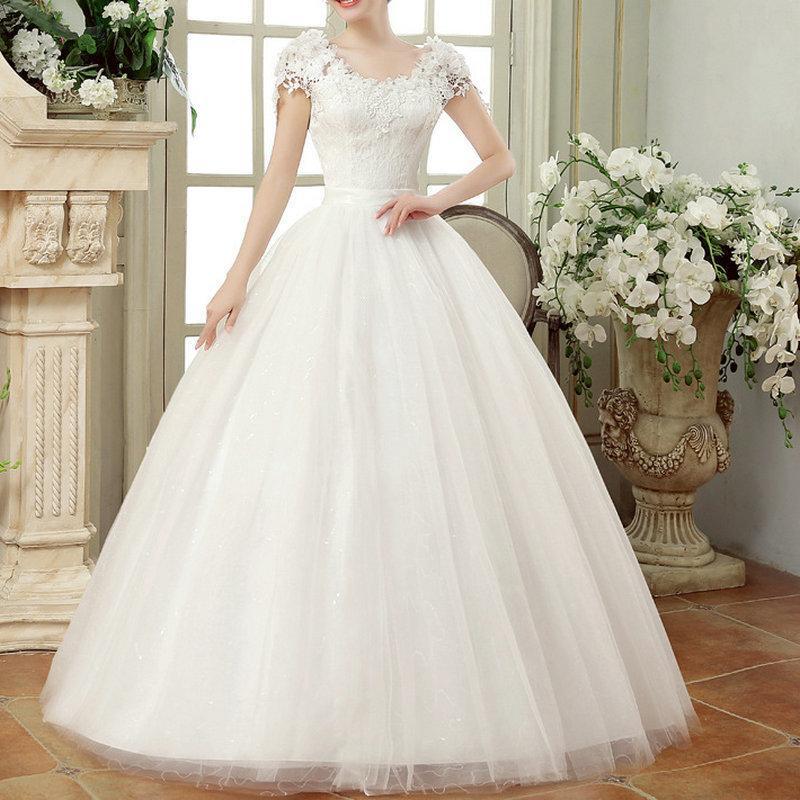Vintage Dantel Elbiseler Cap Kollu Uzun Tren Abiye Düğün vestidos Cerimonia Vestido De Noiva Princesa Q190522 için