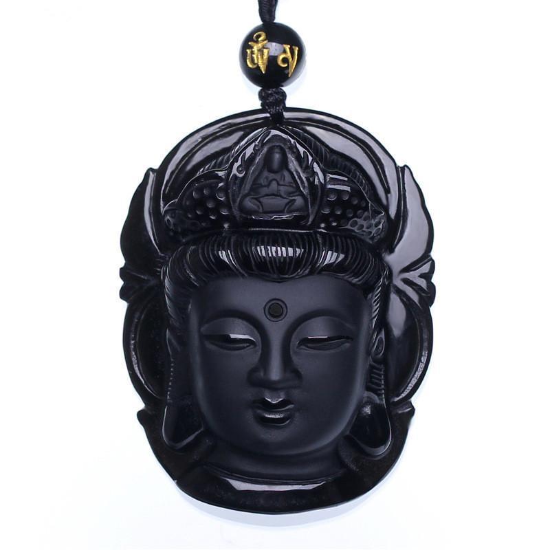 구슬 커튼 자연 흑요석 스크럽 펜던트 Guanyin 머리 펜던트 Transhipped Buddha Head Healing Reiki 선물