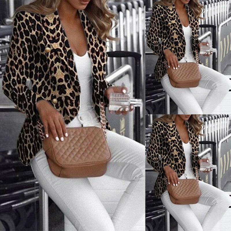 Leopard Stampato Slim Fit Blazer Donne Warm casual Autunno Inverno Cardigan giacca sportiva a maniche lunghe cappotto casuale sexy Outwear Affari