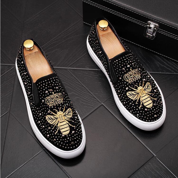 Mocasines altos de calidad de los nuevos hombres Negro Diamond Rhinestones con pinchos de los holgazanes de los remaches zapatos cómodos zapatos de fiesta de boda inferior E253