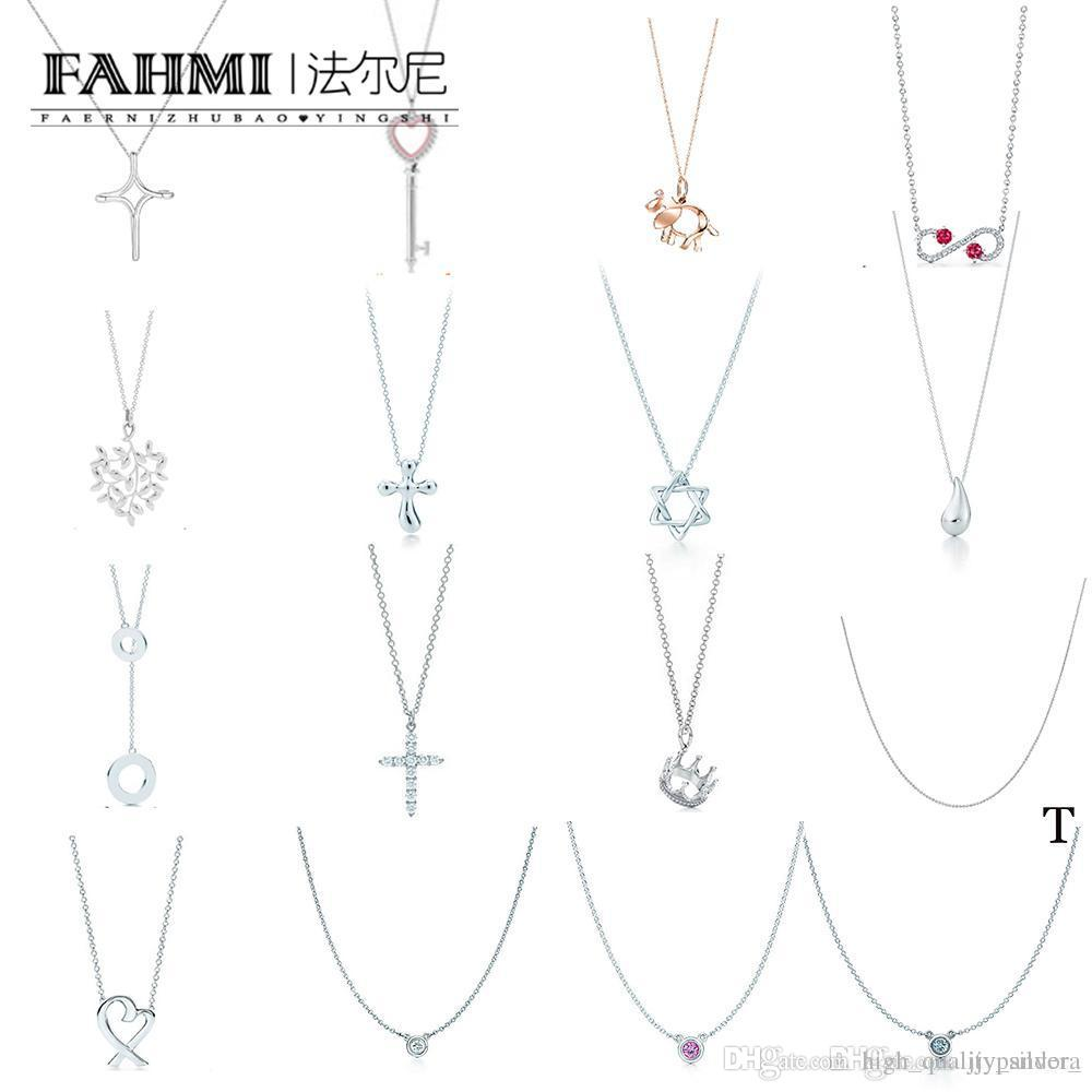 FAHMI 100% 925 Sterling Silver TIF Classic Water Droplets Cross Crown Heart-shaped Key Leaf Pendant Necklace Factory Direct Free Shipping